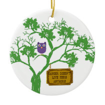 Cancer Doesn't Live Here Tree Owl Ceramic Ornament