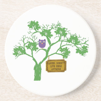 Cancer Doesn't Live Here Tree Owl Drink Coaster