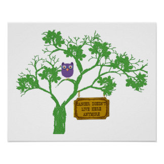 Cancer Doesn't Live Here Tree Owl Poster