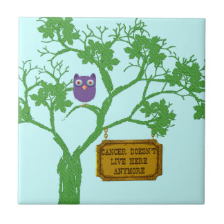 Cancer Doesn't Live Here Tree Owl Tile