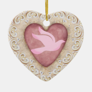 Cancer Dove From the Heart - SRF Double-Sided Heart Ceramic Christmas Ornament