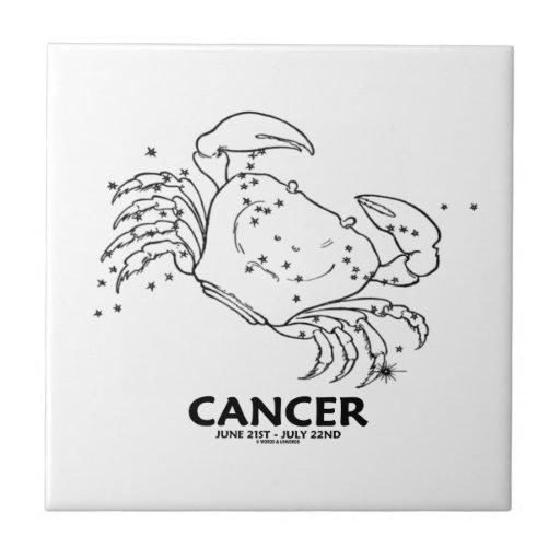Cáncer el cangrejo (21 de junio - 22 de julio) azulejo cuadrado pequeño