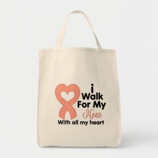 Cáncer endometrial camino para mi héroe bolsa tela para la compra