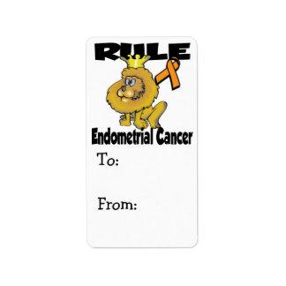 Cáncer endometrial de la regla etiquetas de dirección