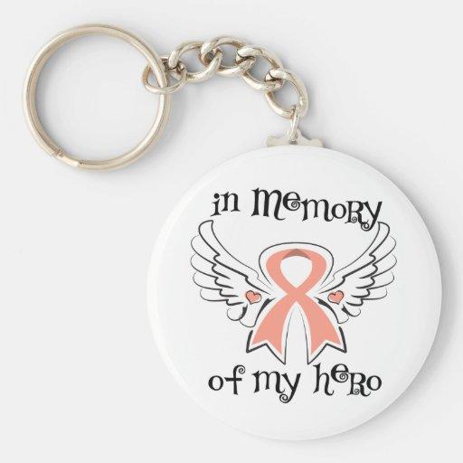 Cáncer endometrial en memoria de mi héroe llaveros