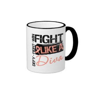 Cáncer endometrial - lucha como una diva tazas de café