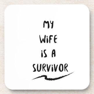 Cancer Fighter  My Wife Is A Survivor Beverage Coaster