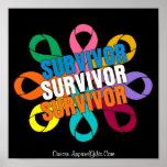 Cancer Flower Awareness Ribbon - Cancer Survivor Poster