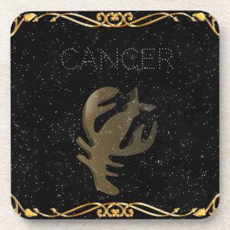 Cancer golden sign beverage coaster