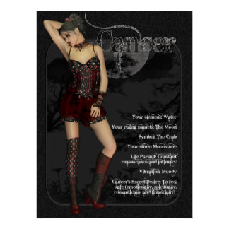 Cancer Gothic Zodiac Birthday Card Poster