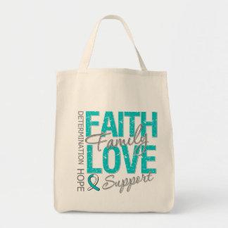 Cancer Inspiring Slogan Collage Cervical Cancer Grocery Tote Bag