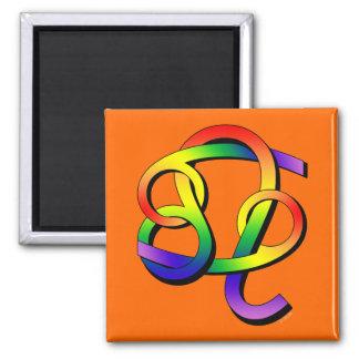 Cancer & Leo GLBT Partners 2 Inch Square Magnet