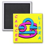 Cancer & Libra PkBl 2 Inch Square Magnet