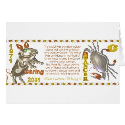 Cáncer llevado cerdo del metal del zodiaco del chi tarjeta de felicitación