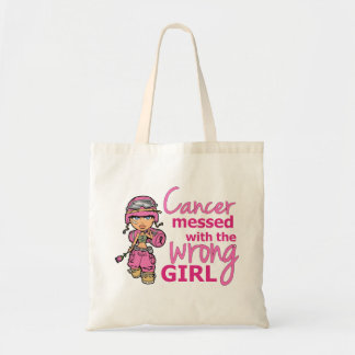 Cancer Messed With The Wrong Girl 2 Breast Cancer Tote Bag