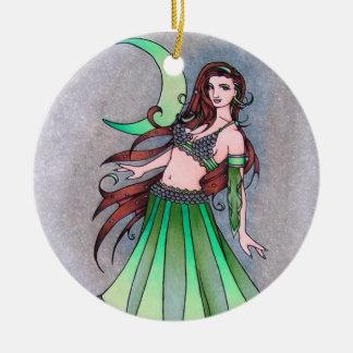 Cancer moon belly dancer ceramic ornament