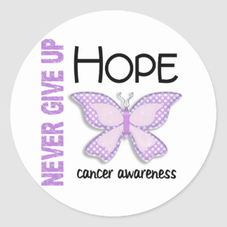 Cancer Never Give Up Hope Butterfly 4.1 Classic Round Sticker