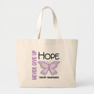 Cancer Never Give Up Hope Butterfly 4.1 Large Tote Bag