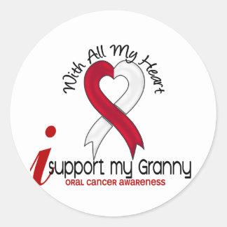 CÁNCER ORAL apoyo a mi abuelita Pegatina Redonda