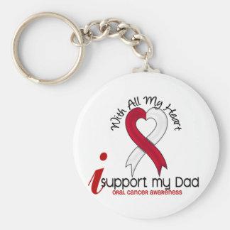 CÁNCER ORAL apoyo a mi papá Llavero Redondo Tipo Pin