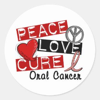 Cáncer oral de la curación del amor de la paz pegatinas redondas