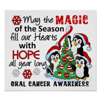 Cáncer oral de los pingüinos del navidad póster