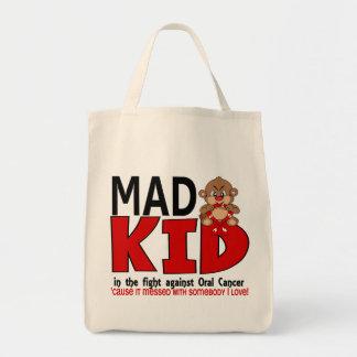 Cáncer oral del niño enojado bolsa tela para la compra