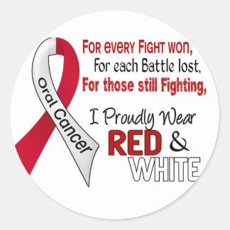 Cáncer oral llevo orgulloso rojo y el blanco 1 pegatinas redondas
