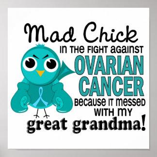 Cáncer ovárico abuela enojada del polluelo 2 de la poster