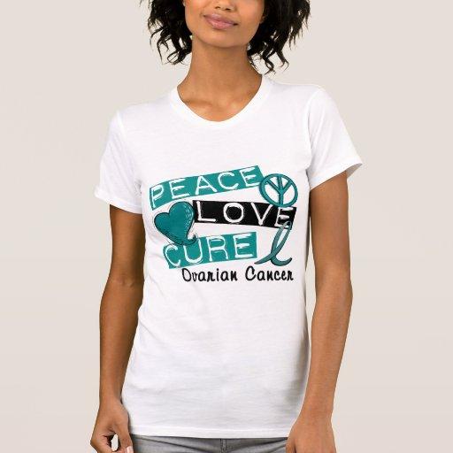 Cáncer ovárico de la curación del amor de la paz camisetas