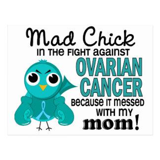 Cáncer ovárico de la mamá enojada del polluelo 2 tarjetas postales