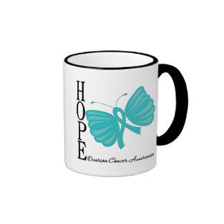 Cáncer ovárico de la mariposa de la esperanza taza de café