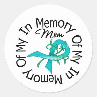 Cáncer ovárico en memoria de mi mamá pegatina redonda