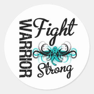 Cáncer ovárico fuerte de la lucha del guerrero etiquetas redondas