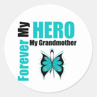 Cáncer ovárico para siempre mi héroe mi abuela pegatina redonda