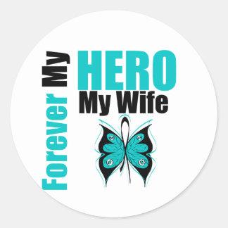 Cáncer ovárico para siempre mi héroe mi esposa pegatinas redondas