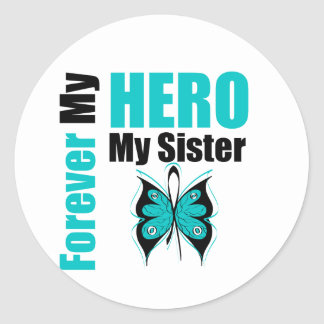 Cáncer ovárico para siempre mi héroe mi hermana etiquetas redondas