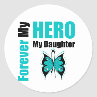 Cáncer ovárico para siempre mi héroe mi hija pegatina redonda