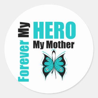 Cáncer ovárico para siempre mi héroe mi madre etiquetas redondas