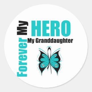 Cáncer ovárico para siempre mi héroe mi nieta etiquetas redondas