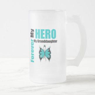 Cáncer ovárico para siempre mi héroe mi nieta tazas de café