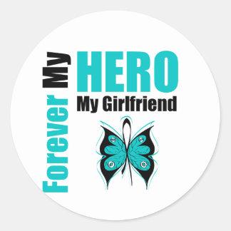Cáncer ovárico para siempre mi héroe mi novia pegatina redonda