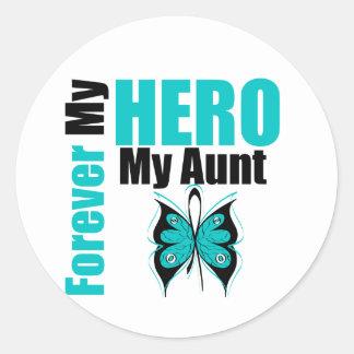 Cáncer ovárico para siempre mi héroe mi tía etiquetas redondas