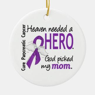 Cáncer pancreático de la mamá necesaria del héroe adorno navideño redondo de cerámica