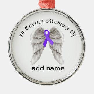 Cáncer pancreático del ornamento conmemorativo del adorno redondo plateado