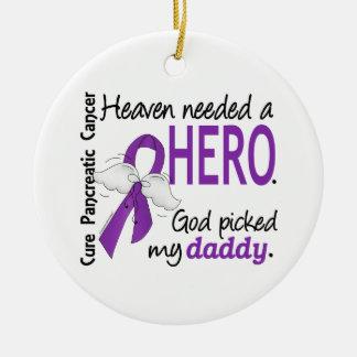 Cáncer pancreático del papá necesario del héroe adorno navideño redondo de cerámica