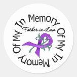 Cáncer pancreático en memoria de mi suegro pegatinas redondas