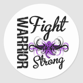 Cáncer pancreático fuerte de la lucha del guerrero pegatina redonda