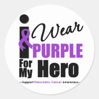 Cáncer pancreático llevo al héroe púrpura de la etiqueta redonda