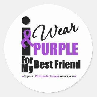 Cáncer pancreático llevo al mejor amigo púrpura de pegatinas redondas